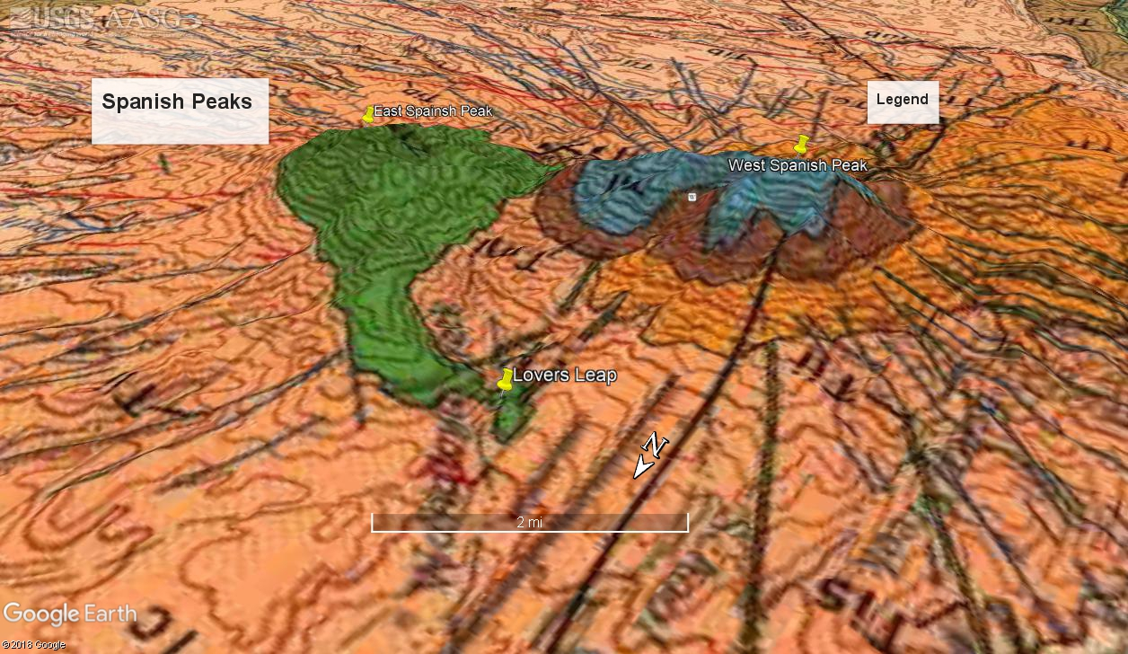 Geological Map Of Spain.Geology Of The Spanish Peaks Lovers Leap And A Wahatoya Canyon Dike